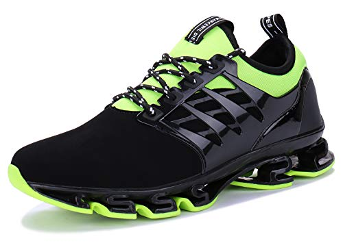 Mens Casual Walking Sneakers Slip On Blade Outdoor Sport Shoes (10.5 M US, 4black Green)