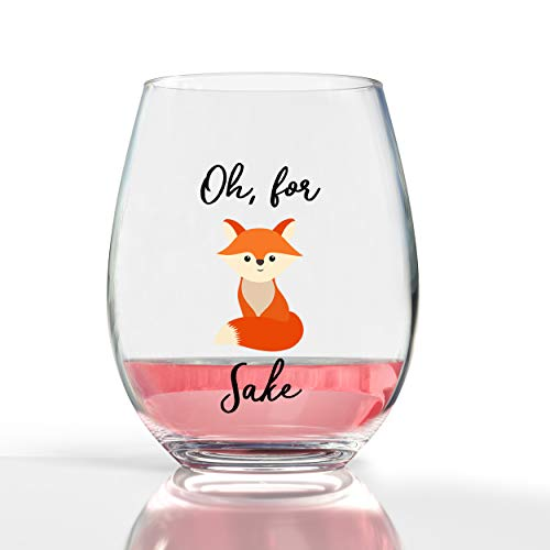 For Fox Sake Funny Novelty Wedding Gift 19oz Stemless Wine Glass Funny Gift Engagement Gift for Couples by Fine Occasion (Glass Fox)