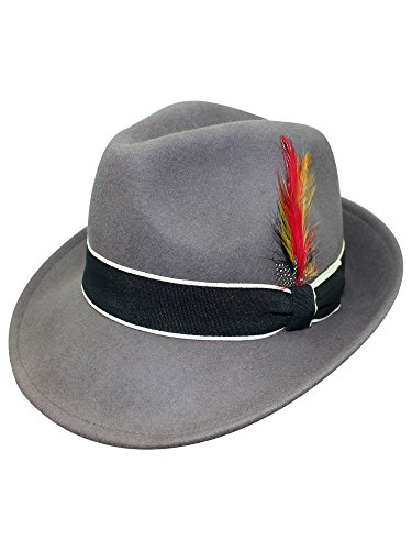 Gray Wool Fedora Hat With...