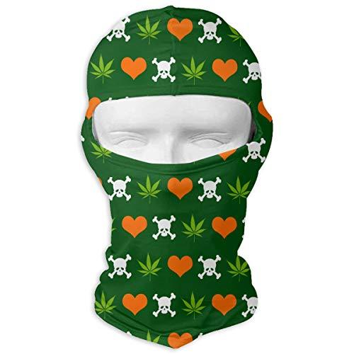 Cannabis Skull Heart Weed Balaclava Full Face Mask Neck Warmer For Halloween Motorcycle Bike Outdoor Hiking Snowmobile -
