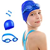 OMore Kids Swim Kit Swim Goggles and Swim Cap, Perfect for Swimming, Diving, Snorkeling, Surfing Orange