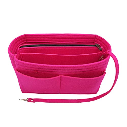 Wool Handbag Purse - Purse Organizer, Multi-Pocket Felt Handbag Organizer, Purse Insert Organizer with zipper, Handbag & Tote Shaper 903 Rosy Medium