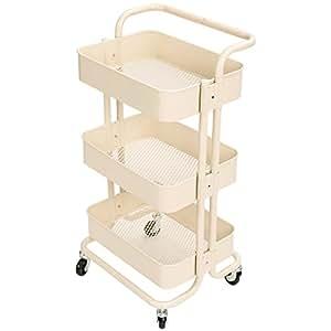 Hollyhome carrito de 3 niveles de metal con asas carrito - Juegos de cocina con niveles ...