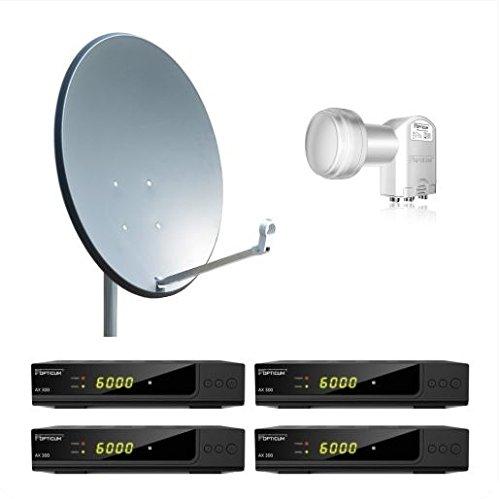 Opticum 4 Teilnehmer Komplettanlage HD AX 300 - 80cm Antenne anthrazit
