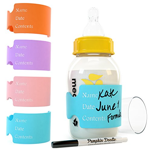 The Original Write and Reuse Baby Bottle Labels for Daycare - Available in 11 Colors- Includes 4 Labels and 1 Dry Erase Marker ()