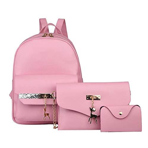 Women Shoulder 3Pcs Leather Handbag PU Pink Chain Glitter Set Pendant 6qxwqH7E