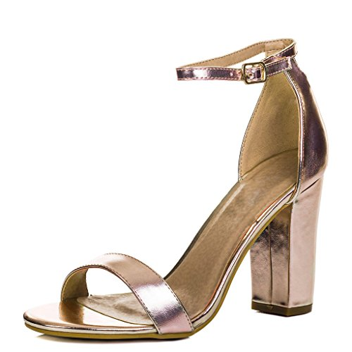 Spylovebuy SASS Women's Open Peep Toe Block Heel Sandals Shoes Gold Leather Style