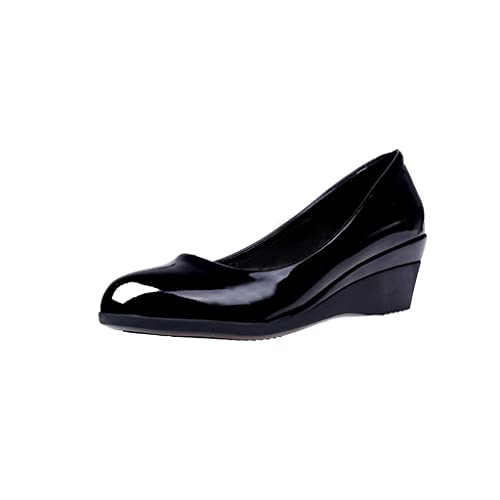 calidad asombrosa oferta 100% de satisfacción Mujer Zapatos de tacón Cuña Tallas Grandes,Gusspower Mujeres Plataforma  Tacón Ancho 5cm Punta Redonda Sexy De Noche Zapatos de Vestir Boda Oficina  ...