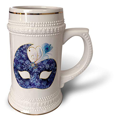 3dRose Anne Marie Baugh - Designs and Illustrations - Blue and Image Of Gold Masquerade Mask Design - 22oz Stein Mug (stn_309406_1)
