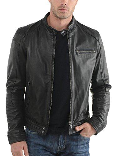 In Biker Giacca Moto Pelle Fit Outwear Auk061 Giacche Black Uomo Da Slim Cappotto qxdwfd6