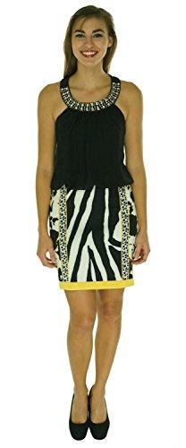 Embellished Blouson (Thalia Sodi Multi Print Embellished Blouson Dress Yellow combo Large)