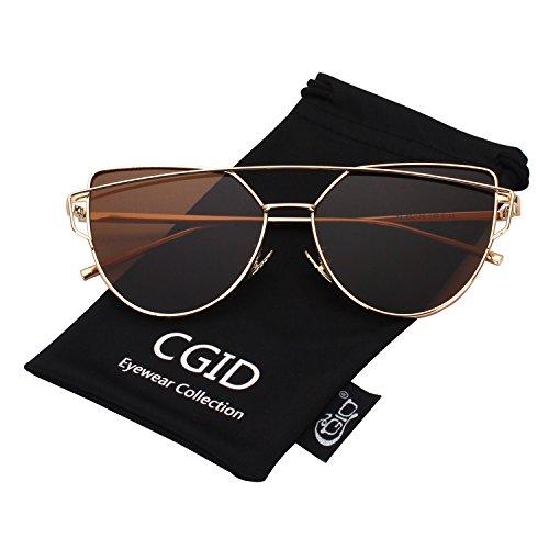 sol ojo de Dorado UV400 Gafas MJ74 mujer de Espejo Marrón moda de Polarizadas para gato CGID A FpnBz5
