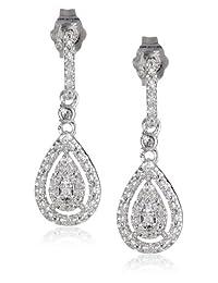 Sterling Silver Diamond 0.14cttw Drop Earrings