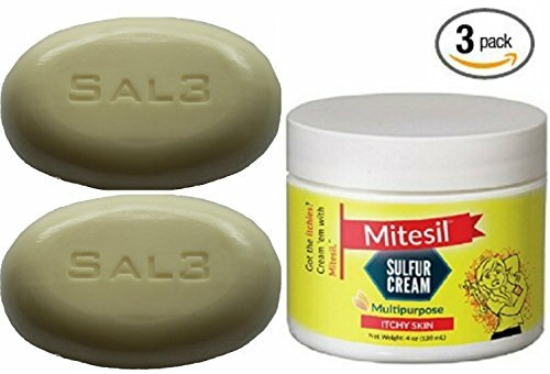 Mite 3 Pack - Mitesil 10% Sulfur Cream with Australian Tea Tree Oil + 2 Bars SAL3 soap, 10% Sulfur, 3% Salicylic Acid