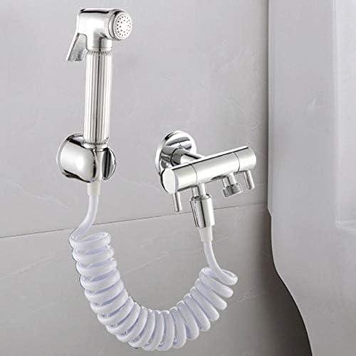 sahnah Copper Cap Shower Foam Bidet Telescopic Spring Hose 1.5m PVC Spring Flexible Retractable Shower Hose Shower Head Toilet Bidet