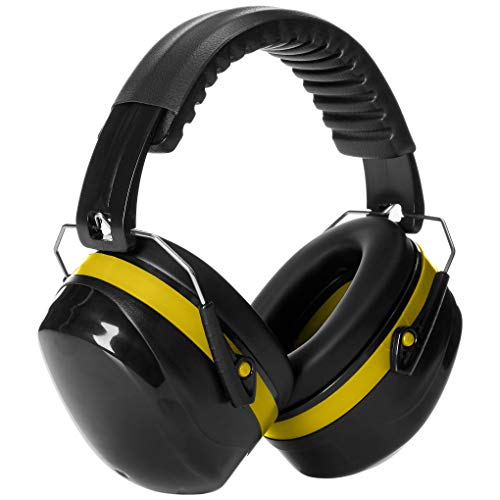 AmazonBasics Noise Reduction Safety Earmuffs Ear Protection, Black and Yellow (Target Practice Ear Protection)