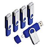 DigiOcean 16GB Store 'n' Go Dual Bulk Flash Drive For Otg Devices Micro Usb ,Usb 2.0 ,Blue,5- Pack