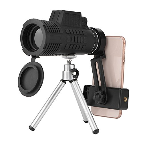 Super Clear 50x60 Monocular Telescope(Mobile Phone Clip & Tripod), Waterproof 7.8 Field of View Wide Angle Phone Zoom Lens High Transparency Day and Night Vision HD Monocular for Bird Watching, Sights