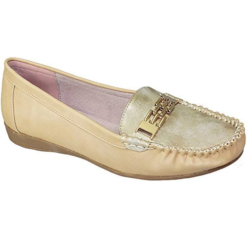 FANTASIA BOUTIQUE ® FLC623 Nina Ladies Shimmer Front Gold Chain Comfy Casual Slip On Boat Shoes Beige Djyfkw