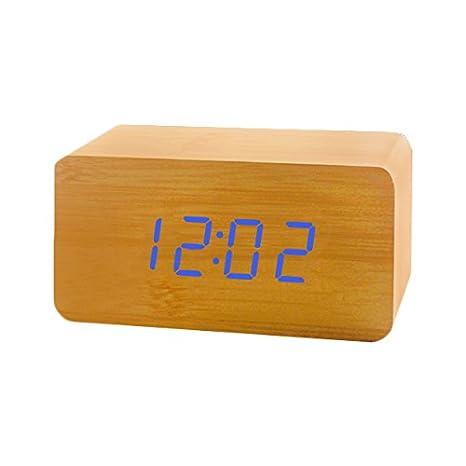 Reloj Digital Despertador LED ,Feicuan Cube Madera Digital Alarma con Hora Date temperatura Display Alternately