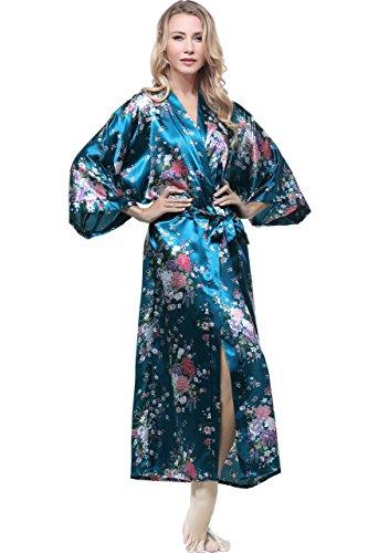 Floreale BABEYOND Kimono Verde Kimono Raso Mare Donna Kimono Vestaglia con cm Pigiama 135 Donna Lungo Vestaglia Kimono Donna Cintura 53 pollici ttqgRBfw