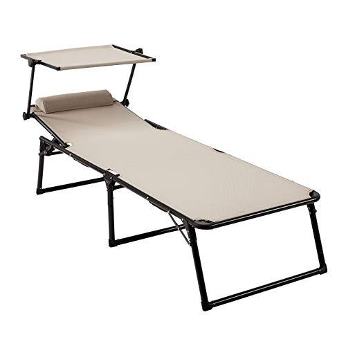🥇 AmazonBasics – Tumbona de aluminio plegable de tres patas con toldo