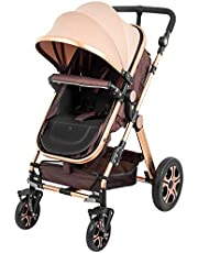 Superland Foldable Newborn Baby Luxury Stroller Buggy Pram Pushchair Carriage Infant Travel Car Anti-Shock Carriage Infant Travel Car Large Capacity Basket (0-3 Years Golden)