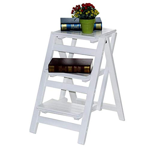 White Ladder Stool Folding Wooden, Kitchen Stepping Stools for Adults and Kids, with Anti-Slip Sturdy and Wide Pedal (Size : 42 × 55 × 68 cm)