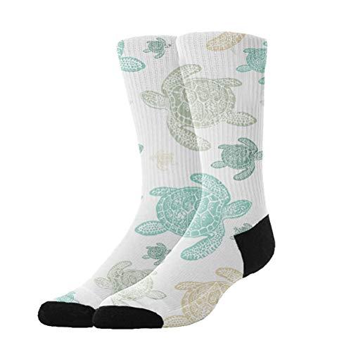 Jinkela Womens Cute Funny Socks Casual Cotton Crew Green Sea Turtles Heart Design Patterned Socks -