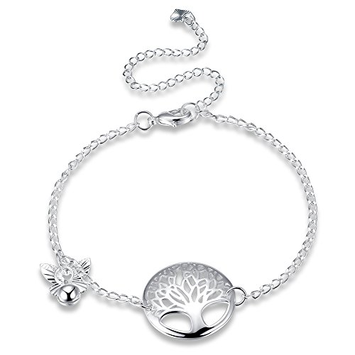 Life Tree and Solid Circle Bead Link Chain Sterling Silver Plated Anklet Women Anklet (Link Plated Circle)