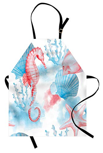 Lunarable Nautical Apron, Shells Sea Horse Corals Fish Sandy Beach Exotic Stylized Watercolor Effect, Unisex Kitchen Bib Apron with Adjustable Neck for Cooking Baking Gardening, Coral Blue White ()