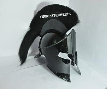 Corinthian casco armadura Medieval Rey leónidas Spartan de película 300casco negro PLUME