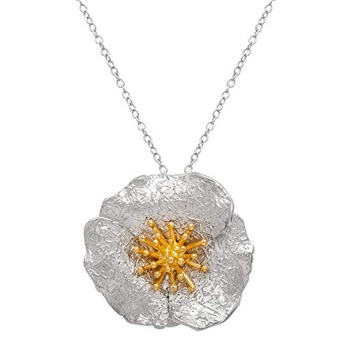 Ellen Tracy Sterling Silver Two Tone Textured Flower Necklace