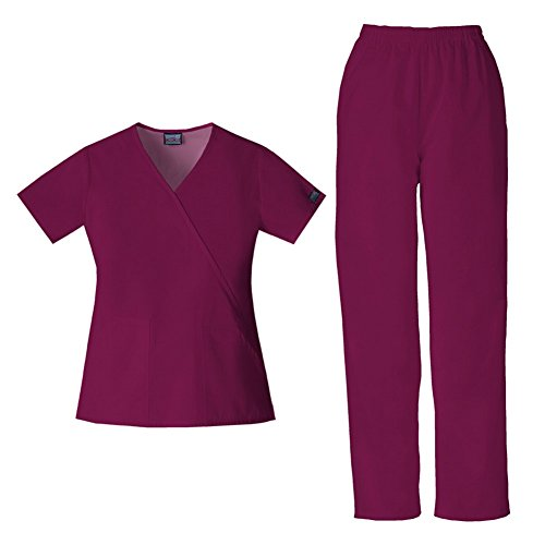 Cherokee Women's Workwear Mock Wrap Top 4741 & Pull On Pant 4001 Scrub Set (Wine - Small/X-Small) (Set Cherokee)