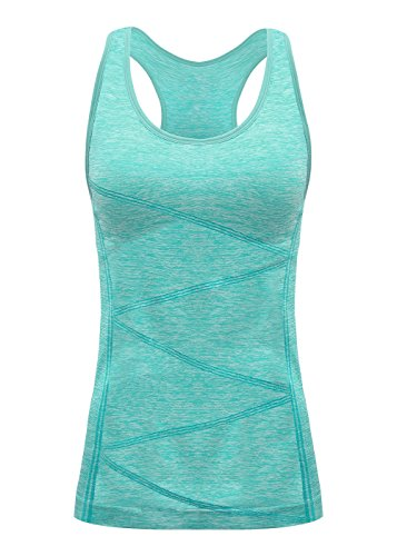DISBEST Yoga Tank Tops for Women, Stretchy Sleeveless Shirt Workout Running Tops with Removable Bra Pads Light Green ()