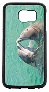 Rikki KnightTM Two Dolphins Kissing Design Samsung? Galaxy S6 Case Cover (Black Rubber with front Bumper Protection) for Samsung Galaxy S5