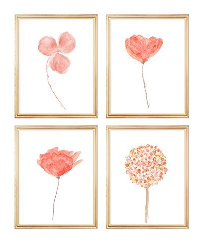 Coral Flowers Gallery Wall, coral orchid flower wall art