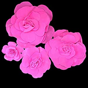 Set of 4 Classic Elegant Giant Foam Flowers(Floating). Real Touch 3D Artificial Roses. Wedding Backdrop, Photo-Booth, Backdrop, Nursery, Wall, Archway, Home Decoration Centerpiece 56