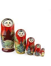 Russische nestpoppen, 5 traditionele matroesjka | Babushka houten poppen, met de hand gemaakt in Rusland