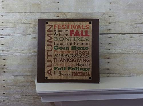 Favorite Fall Activities Subway Art Burlap and Wood Sign -