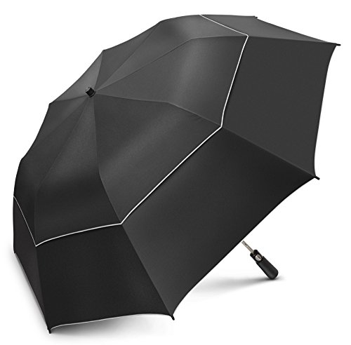 EEZ-Y 58 inch Compact Golf Umbrella UPF 50 Plus UV Protection - Large Windproof Double Canopy - Sun and Rain Umbrellas