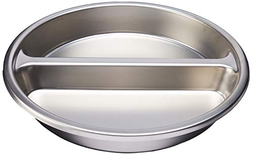 Winco SPFD-2R Round Divided Food Pan, Stainless Steel