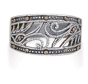 Sterling Silver and Marcasite Swirl Design Ring Band Width Graduates Down From 11mm - Size 10 (Marcasite Rings Size 11)