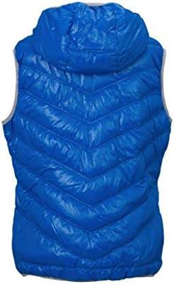 JAMES & NICHOLSON - Veste sans Manches matelassée Duvet à Capuche - Bodywarmer Anorak Doudoune - JN1061 - Femme (Bleu -XL)