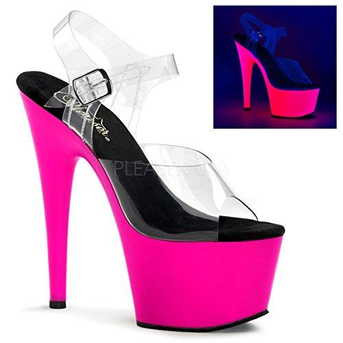 Pleaser Women's Adore-708UV/C/NPN Platform Sandal,Clear/Neon Pink,7 M US -