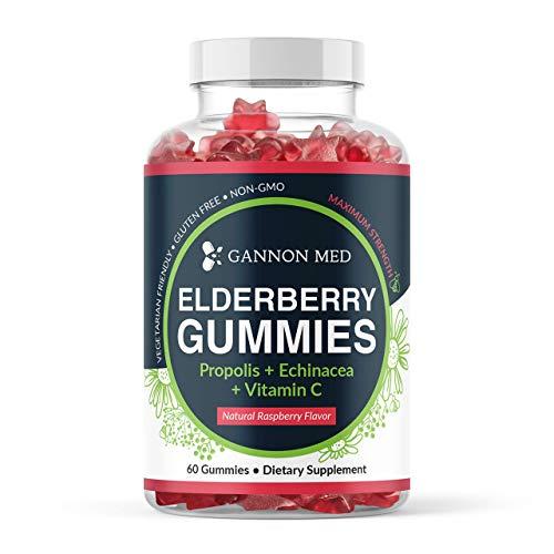 Elderberry Gummies for Kids & Adults Immune Support - Vitamin C Echinacea Propolis & Sambucus Black Elderberry Gummy Vitamins - Organic Nature Booster Non-GMO Gluten Free - USA