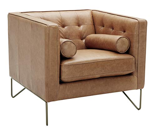 Rivet Brooke Contemporary Leather, Metal Leg Living-Room Chair, 35