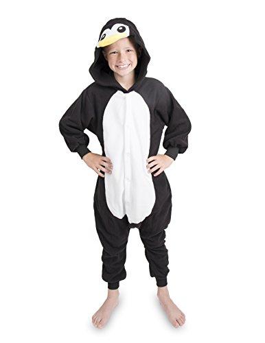 Emolly Kids Penguin Animal Onesie Pajamas Costume (6, black)