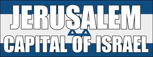 Jerusalem CAPITAL OF ISRAEL Bumper Sticker (pro jew jewish trump) -