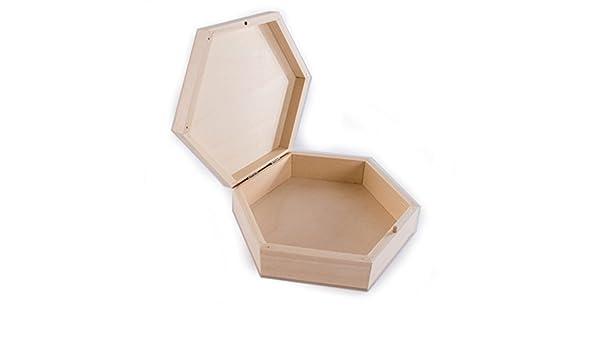 SEARCHBOX pequeña Hexagonal de Madera Caja de Almacenamiento con Tapa/Caja con Forma de Recuerdos/Memory: Amazon.es: Hogar